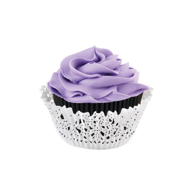 Caissette cupcake dentelle noires et blanches Wilton (x48)