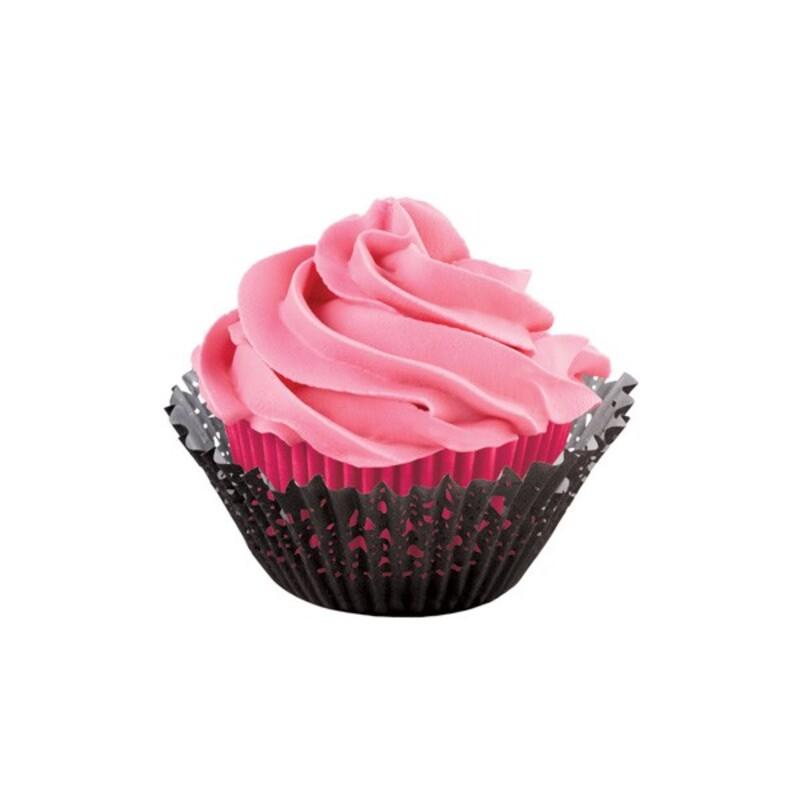 Caissette cupcake dentelle noires et roses Wilton (x48)