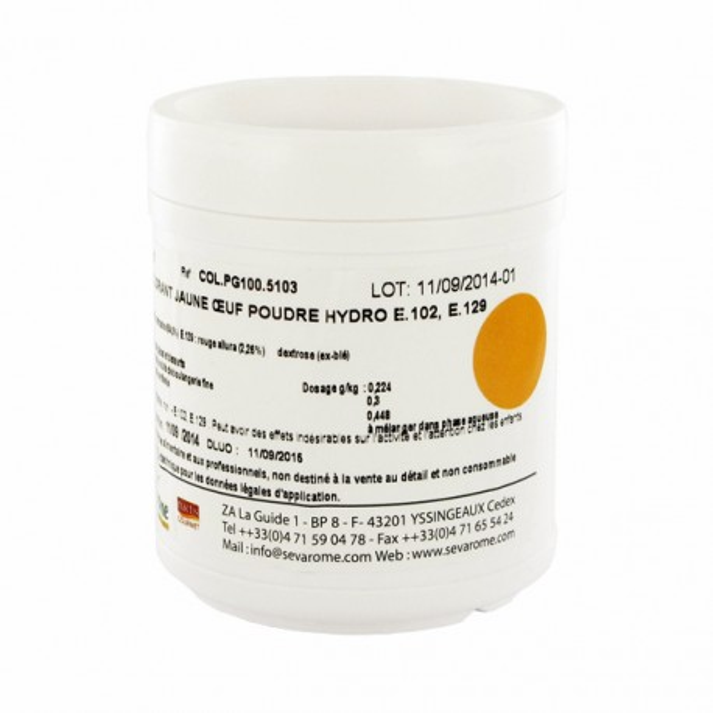 Colorant poudre alimentaire Jaune Oeuf 100 g