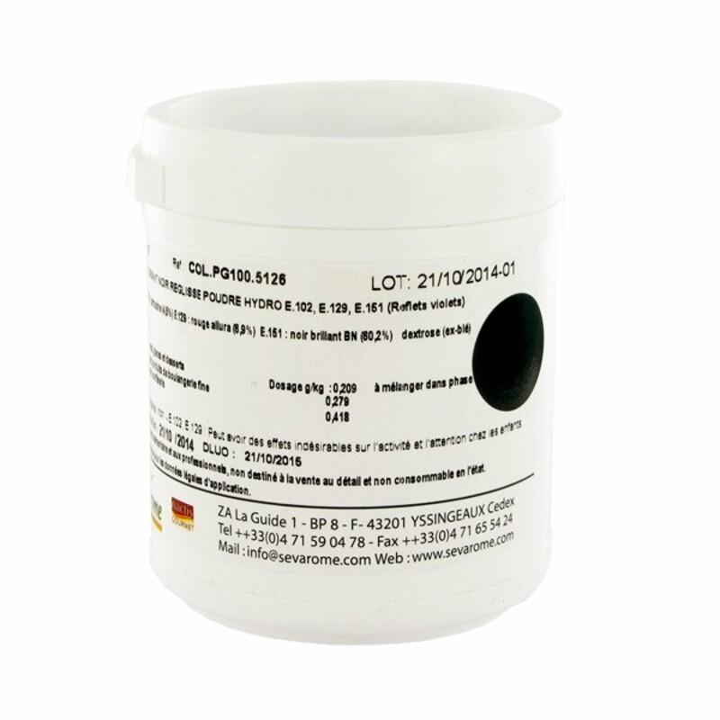 Colorant poudre alimentaire Noir Réglisse 100 g