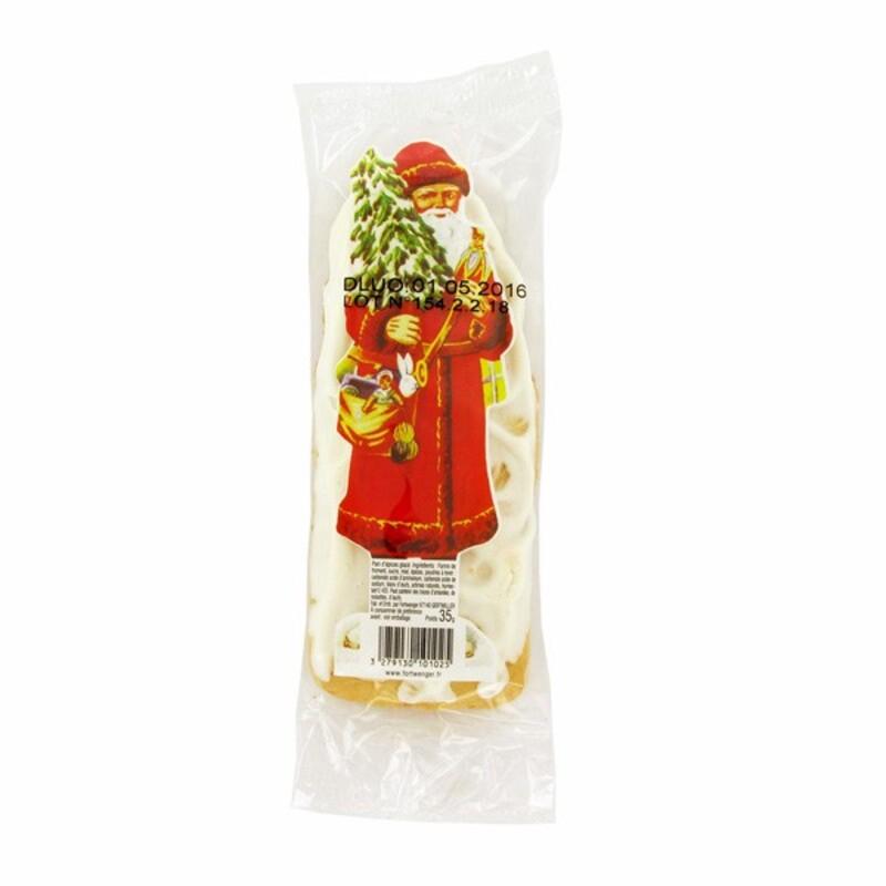 Père Noël en pain d'épices glacé au sucre 13 cm