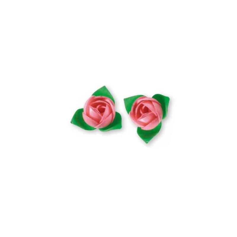 Roses roses avec feuilles Patisdécor x10