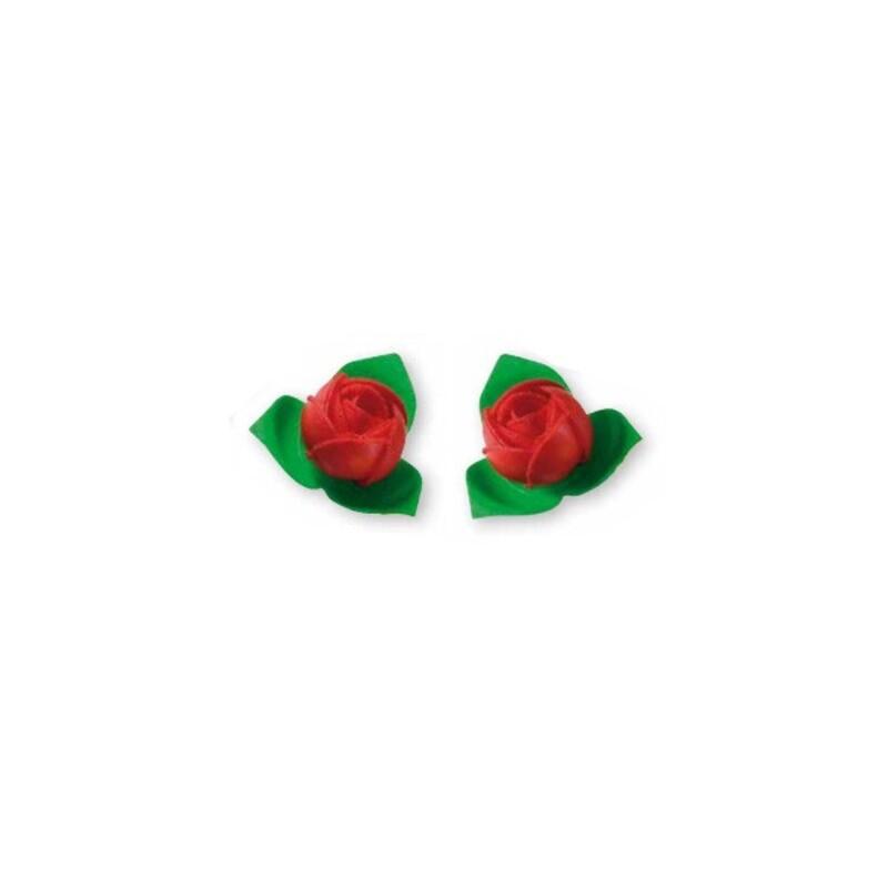 Roses rouges avec feuilles Patisdécor x10