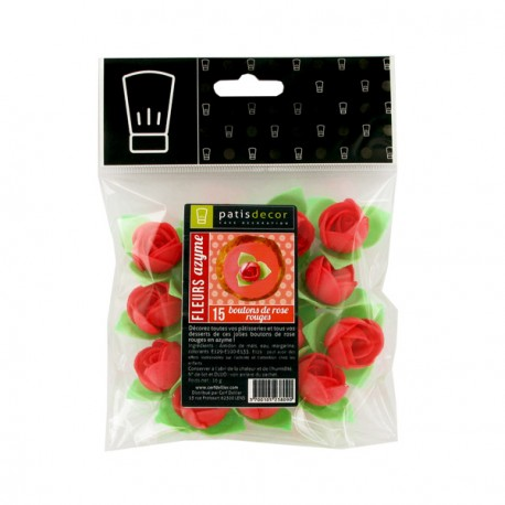 Boutons de rose rouge Patisdécor x15