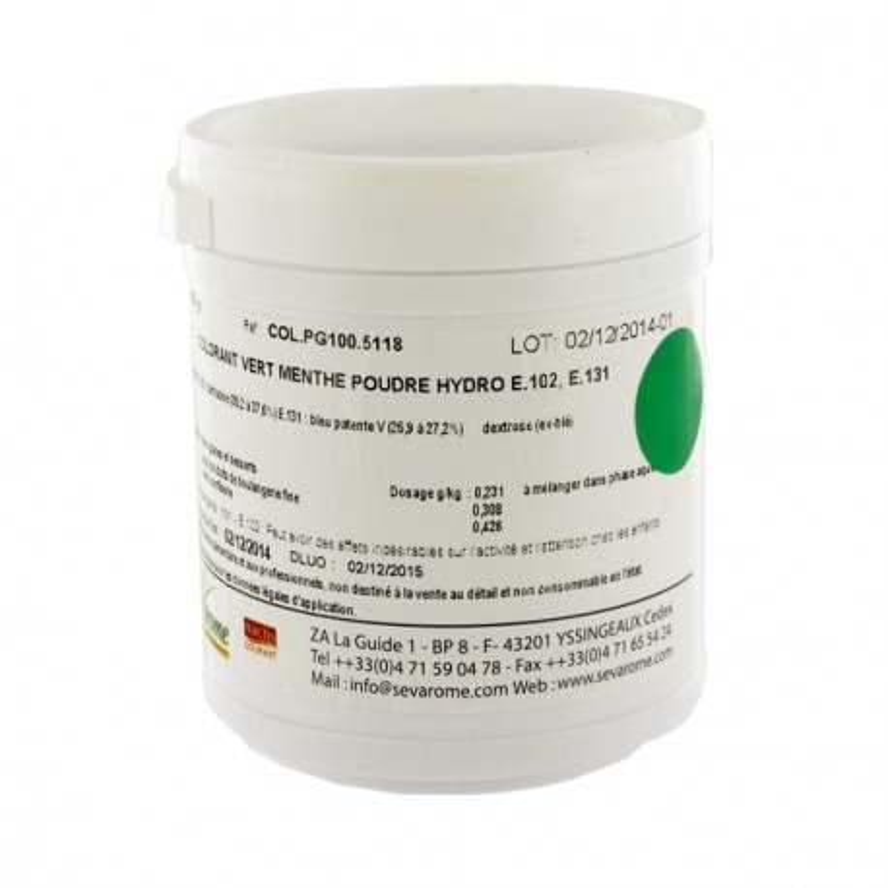 Colorant poudre alimentaire Vert Menthe 100 g