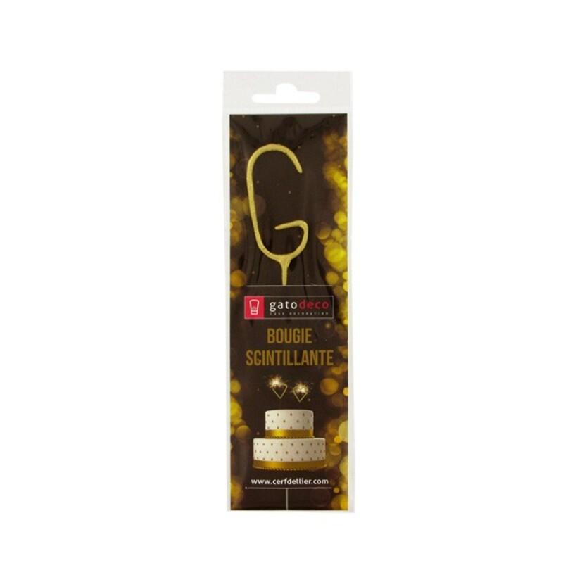 Cierge magique doré lettre G Gatodéco