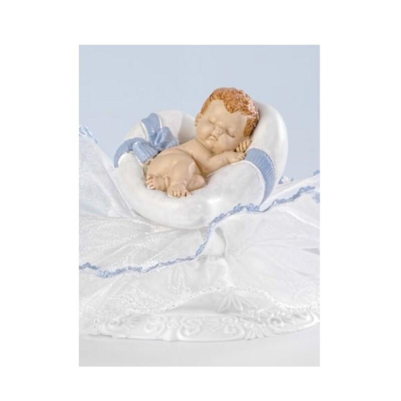 Sujet de baptême bébé garçon coeur