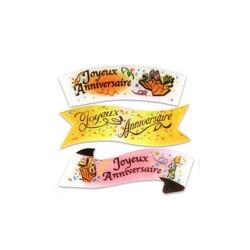 Plaquette Joyeux Anniversaire assorties (x24)