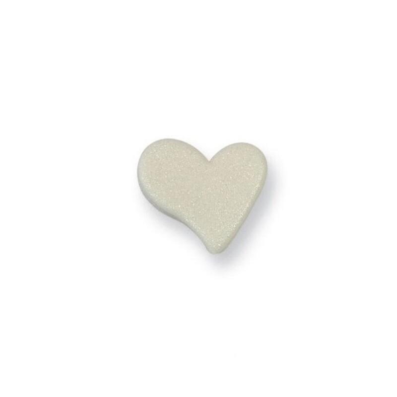 Coeurs blancs irisés en sucre x6