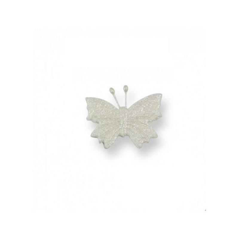 Papillons blancs irisés en sucre x6