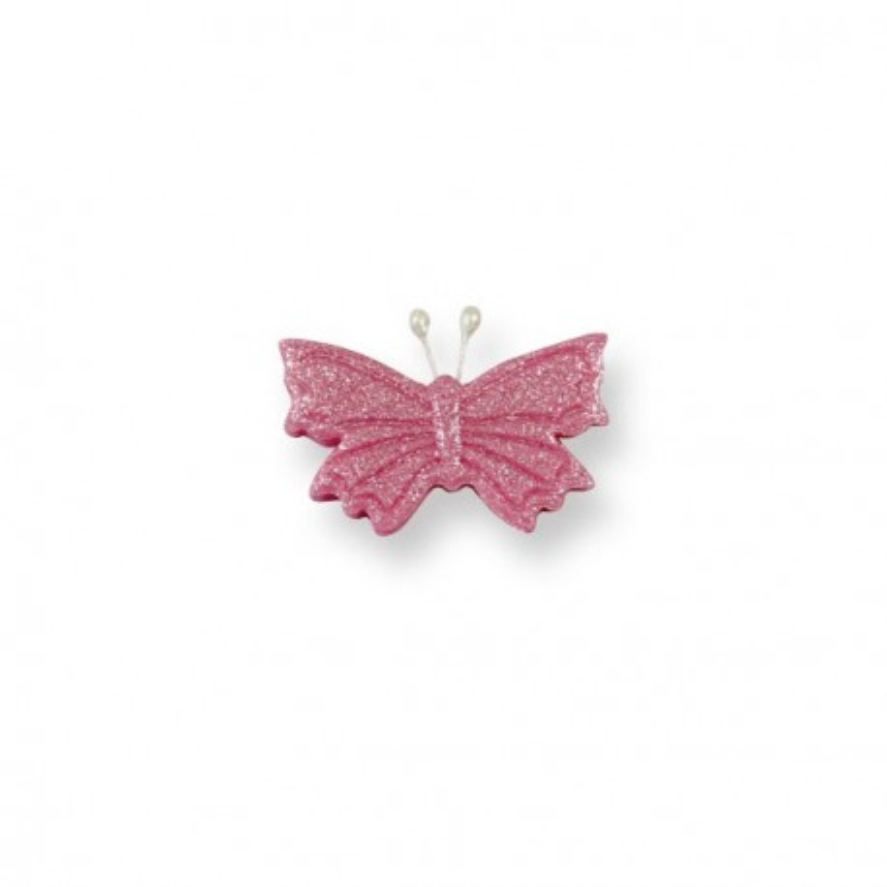 Papillons roses irisés en sucre x6