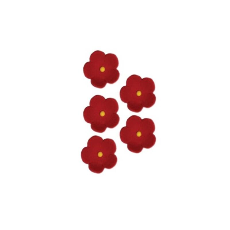 Fleurs en sucre rouges 25 mm x24