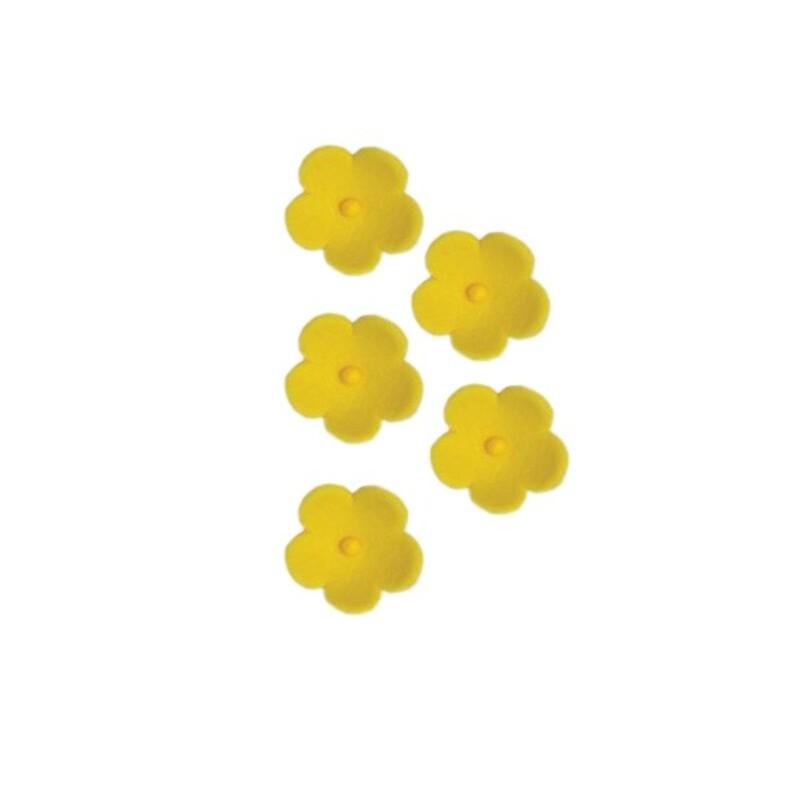 Fleurs en sucre jaunes 25 mm x24