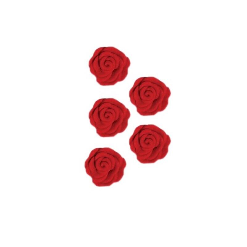 Roses en sucre rouges x12