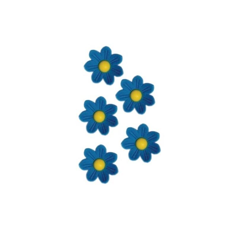 Marguerites en sucre bleues x12