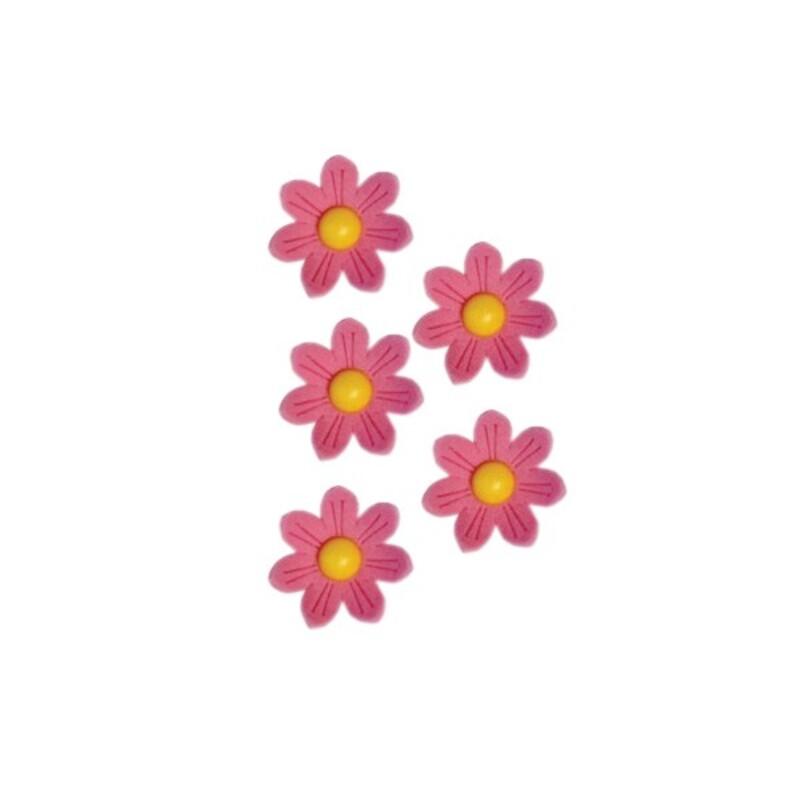 Marguerites en sucre roses x12