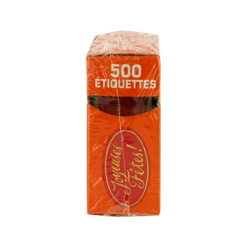 Etiquette adhésive Joyeuses Fêtes rouge x500