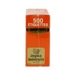 Etiquette adhésive Joyeux Anniversaire doré x500