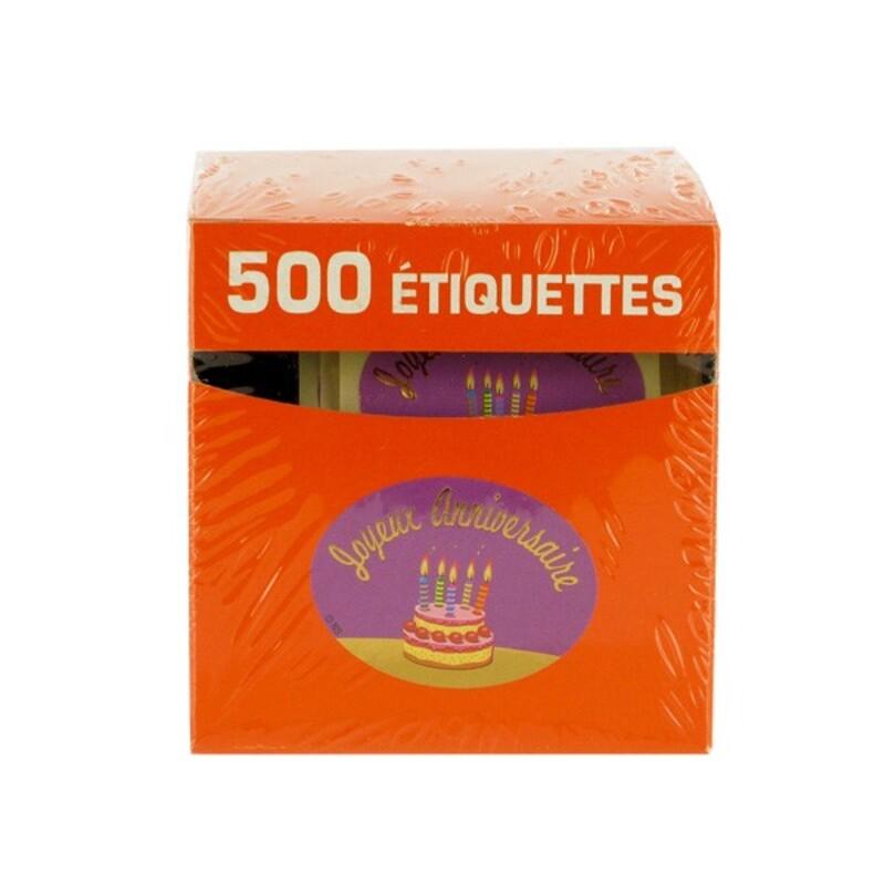 Etiquette adhésive Joyeux Anniversaire violet x500