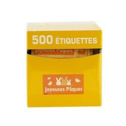 Etiquette adhésive Joyeuses Pâques orange x500
