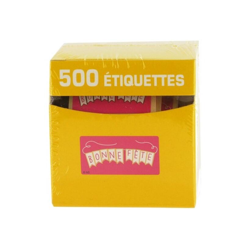 Etiquette adhésive Bonne Fête fuchsia x500