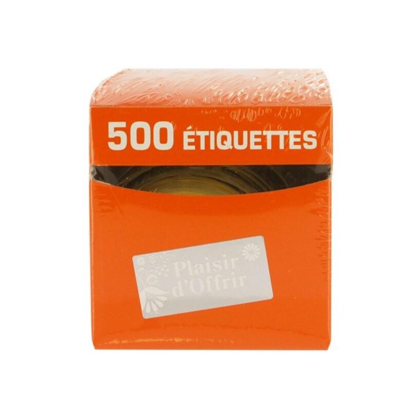 Etiquette adhésive Plaisir d'Offrir argent / blanc x500