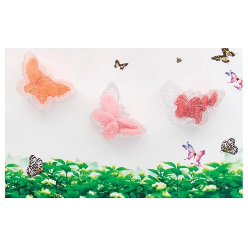 Boîte à dragées papillon nervuré transparente x3