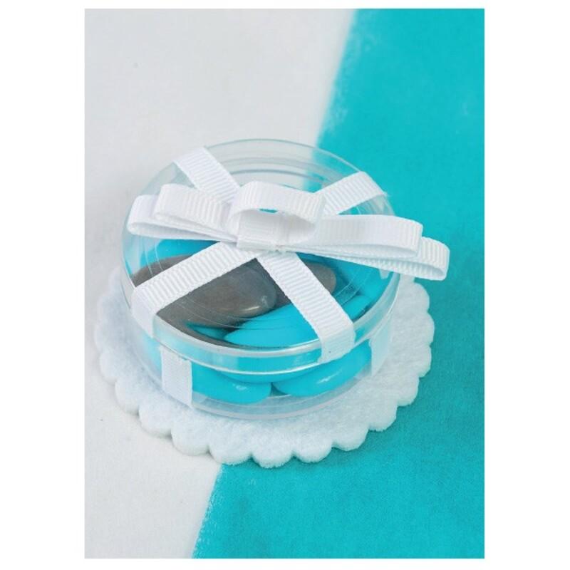 Boîte à dragées gâteau anniversaire transparente x3