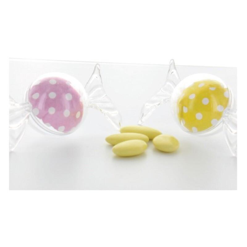 Boîte à dragées bonbon transparente x4