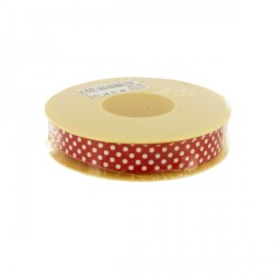 Contour cake drum rouge à pois 15 mm (25 m)