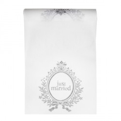 Chemin de table blanc Just Married