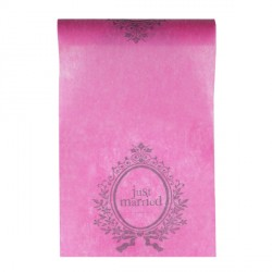 Chemin de table fuchsia Just Married