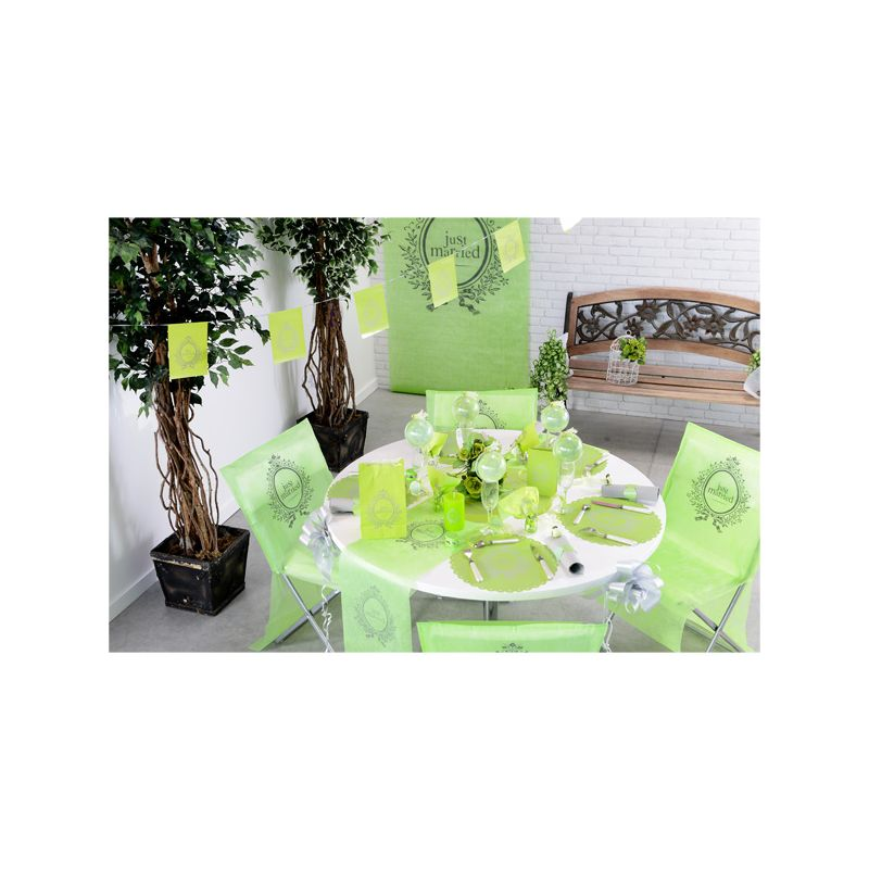 set de table vert just married x6 d coration de mariage cerf dellier. Black Bedroom Furniture Sets. Home Design Ideas