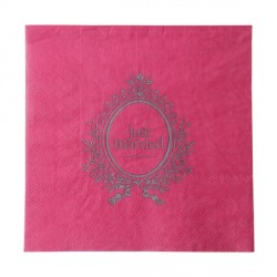 20 Serviettes en papier fuchsia Just Married