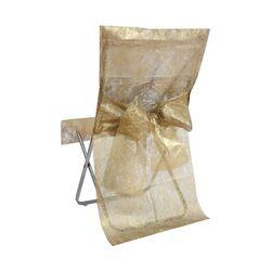 Housse de chaise or Fanon métallisé avec noeud (x2)