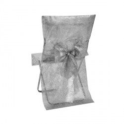 Housse de chaise argent Fanon métallisé avec noeud (x2)