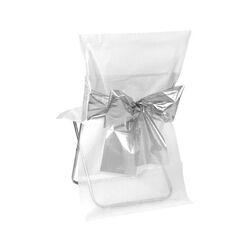 Housse de chaise bicolore blanche noeud métallisé