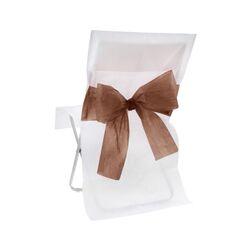 Housse de chaise blanche noeud chocolat (x10)