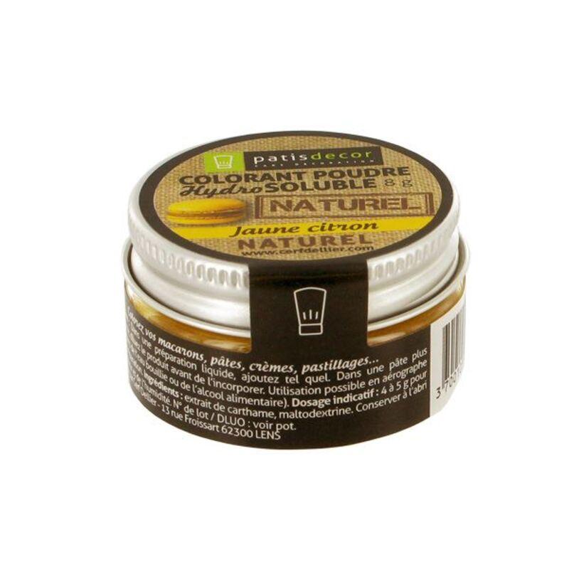 Colorant poudre naturel jaune citron Patisdécor 8 g