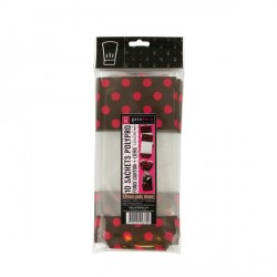 10 sachets polypro choco pois roses fond carton + liens