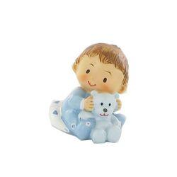 Figurine de baptême bébé garçon avec doudou