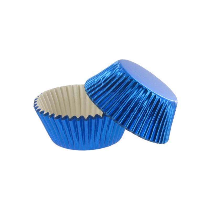 Caissette cupcake bleu métal (x30)