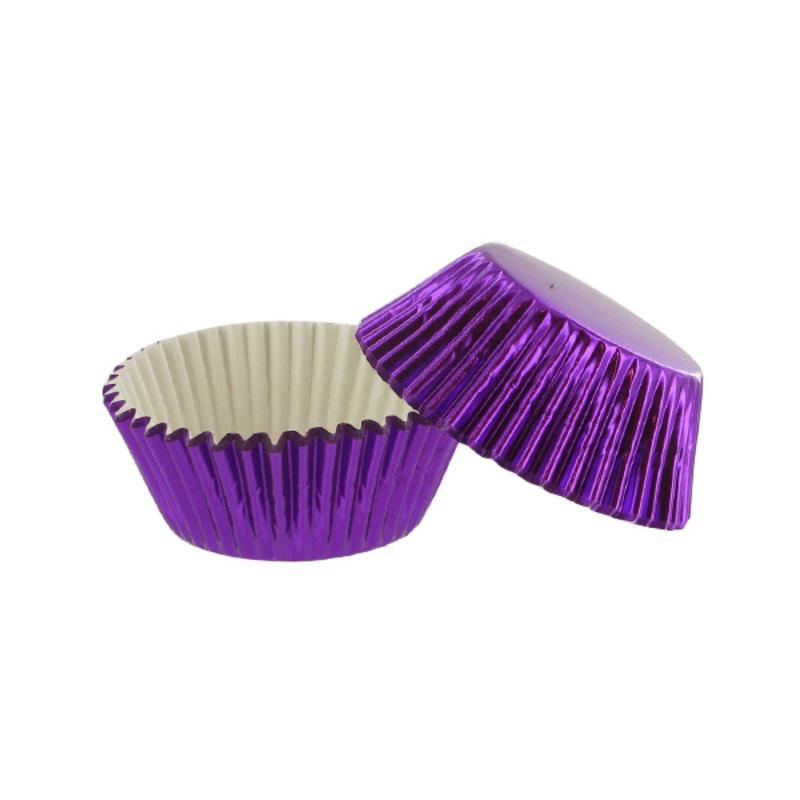 Caissette cupcake violet métal (x30)