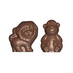 Moule chocolat polycarbonate lion et singe