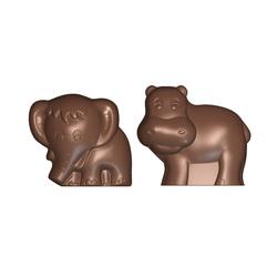 Moule chocolat hippopotame et éléphant