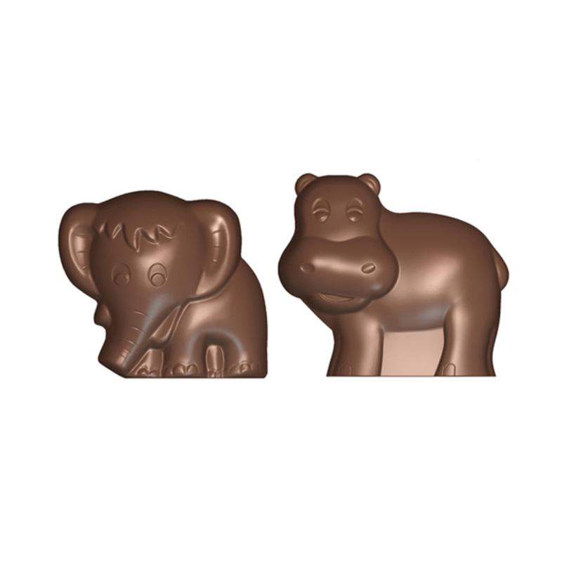 Moule chocolat polycarbonate hippopotame et éléphant