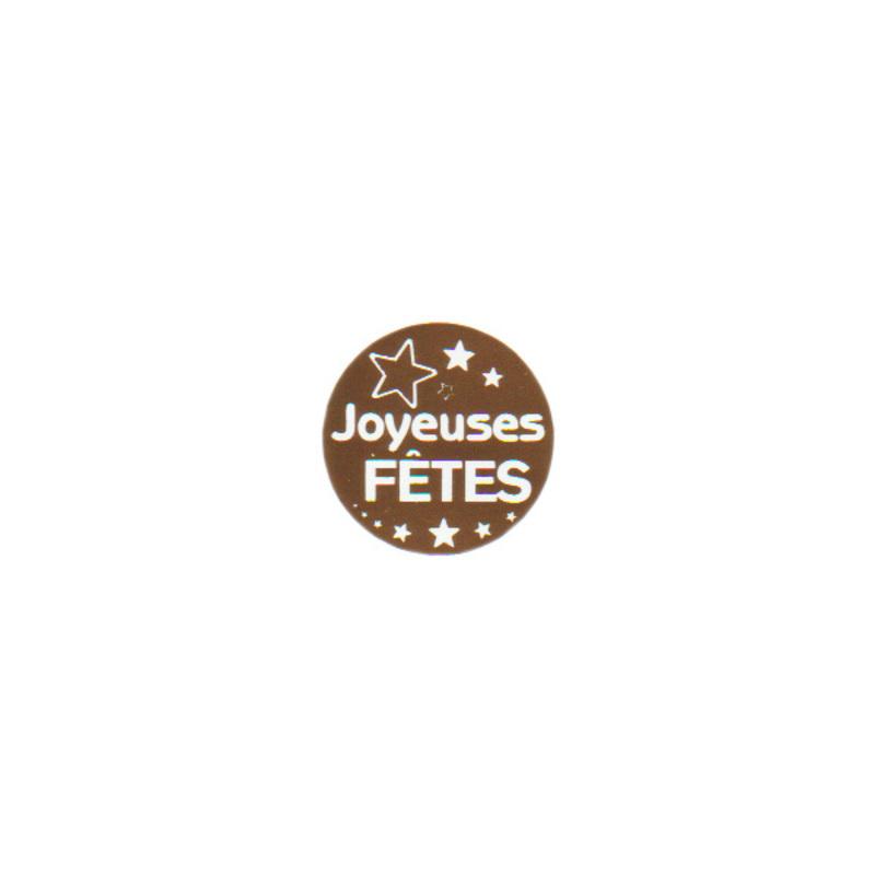 Etiquette adhésive rondes dorées Joyeuses Fêtes (x500)