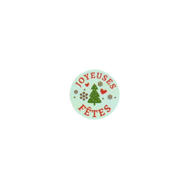 Etiquette adhésive rondes vertes Joyeuses Fêtes (x500)