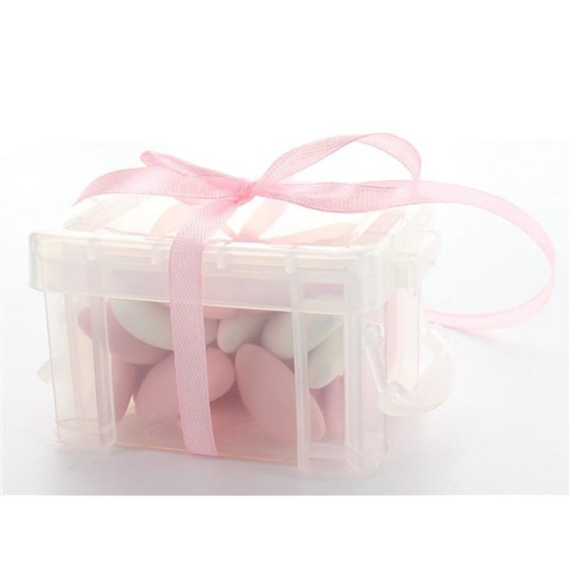 Boîte à dragées malle transparente x3