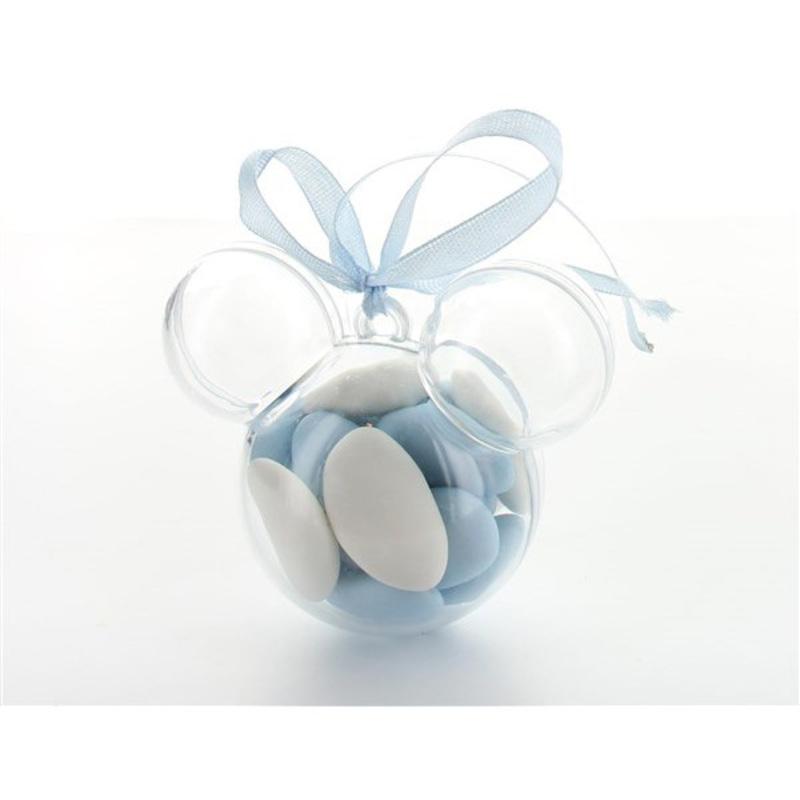 Boîte à dragées souris transparente x3